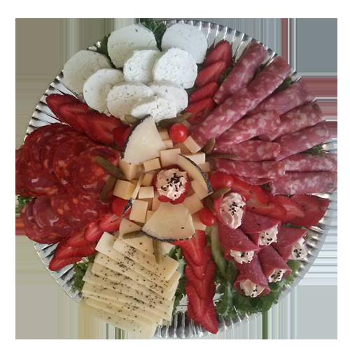charolas de carnes frias y quesos